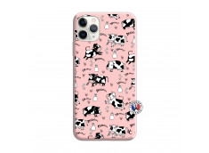 Coque iPhone 11 PRO MAX Cow Pattern Silicone Rose