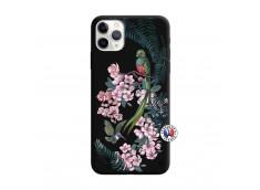 Coque iPhone 11 PRO MAX Flower Birds Silicone Noir