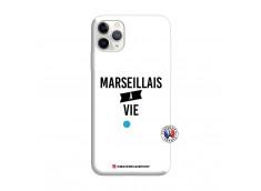 Coque iPhone 11 PRO MAX Marseillais à Vie Silicone Blanc