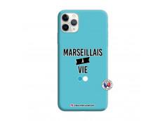 Coque iPhone 11 PRO MAX Marseillais à Vie Silicone Bleu