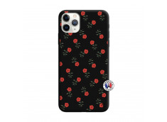 Coque iPhone 11 PRO MAX Rose Pattern Silicone Noir