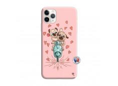 Coque iPhone 11 PRO MAX Puppies Love Silicone Rose
