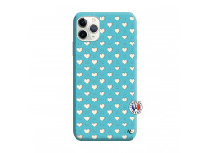 Coque iPhone 11 PRO Little Hearts Silicone Bleu