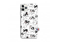 Coque iPhone 11 PRO Cow Pattern Silicone Blanc
