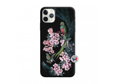 Coque iPhone 11 PRO Flower Birds Silicone Noir
