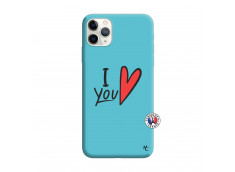 Coque iPhone 11 PRO I Love You Silicone Bleu