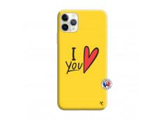 Coque iPhone 11 PRO I Love You Silicone Jaune