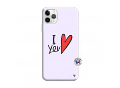 Coque iPhone 11 PRO I Love You Silicone Lilas