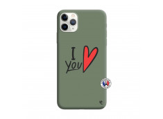 Coque iPhone 11 PRO I Love You Silicone Vert