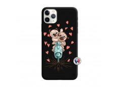 Coque iPhone 11 PRO Puppies Love Silicone Noir