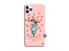 Coque iPhone 11 PRO Puppies Love Silicone Rose