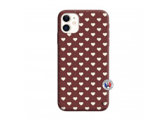 Coque iPhone 11 Little Hearts Silicone Bordeaux