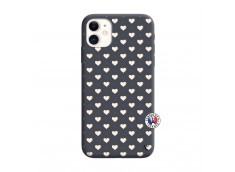 Coque iPhone 11 Little Hearts Silicone Navy