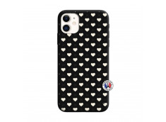 Coque iPhone 11 Little Hearts Silicone Noir
