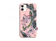 Coque iPhone 11 Flower Birds Silicone Rose