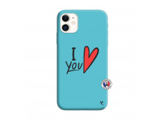Coque iPhone 11 I Love You Silicone Bleu