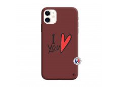 Coque iPhone 11 I Love You Silicone Bordeaux