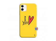 Coque iPhone 11 I Love You Silicone Jaune