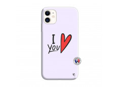 Coque iPhone 11 I Love You Silicone Lilas