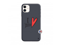 Coque iPhone 11 I Love You Silicone Navy