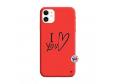 Coque iPhone 11 I Love You Silicone Rouge