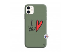 Coque iPhone 11 I Love You Silicone Vert