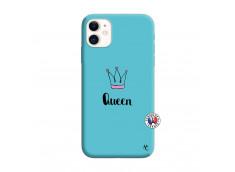 Coque iPhone 11 Queen Silicone Bleu