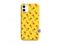 Coque iPhone 11 Rose Pattern Silicone Jaune
