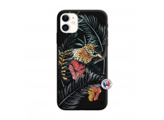 Coque iPhone 11 Leopard Tree Silicone Noir