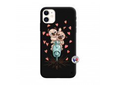 Coque iPhone 11 Puppies Love Silicone Noir