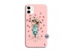 Coque iPhone 11 Puppies Love Silicone Rose