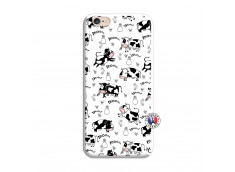 Coque iPhone 6/6S Cow Pattern Silicone Blanc