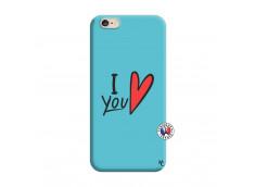 Coque iPhone 6/6S I Love You Silicone Bleu