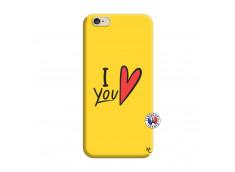 Coque iPhone 6/6S I Love You Silicone Jaune