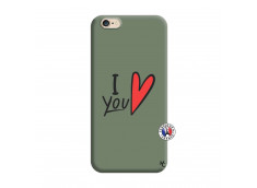 Coque iPhone 6/6S I Love You Silicone Vert