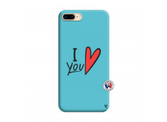 Coque iPhone 7 Plus/8 Plus I Love You Silicone Bleu