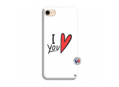 Coque iPhone 7/8 I Love You Silicone Blanc