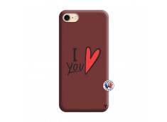 Coque iPhone 7/8 I Love You Silicone Bordeaux