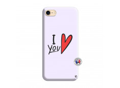 Coque iPhone 7/8 I Love You Silicone Lilas