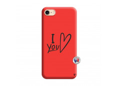 Coque iPhone 7/8 I Love You Silicone Rouge