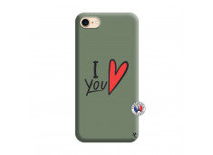 Coque iPhone 7/8 I Love You Silicone Vert