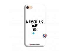 Coque iPhone 7/8/SE 2020 Marseillais à Vie Silicone Blanc