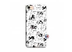 Coque iPhone 7/8/se 2020 Cow Pattern Silicone Blanc