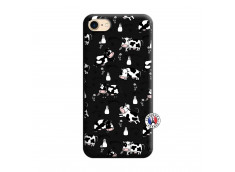 Coque iPhone 7/8/se 2020 Cow Pattern Silicone Noir