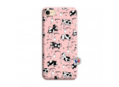 Coque iPhone 7/8/se 2020 Cow Pattern Silicone Rose