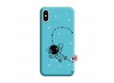 Coque iPhone X/XS Astro Girl Silicone Bleu