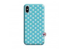 Coque iPhone X/XS Little Hearts Silicone Bleu