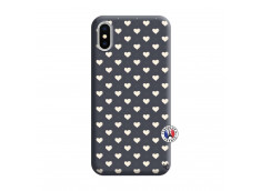 Coque iPhone X/XS Little Hearts Silicone Navy