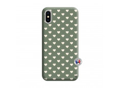 Coque iPhone X/XS Little Hearts Silicone Vert