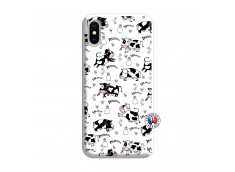 Coque iPhone X/XS Cow Pattern Silicone Blanc